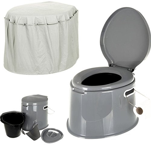FiNeWaY@ 5L PORTABLE TOILET COMPACT POTTY LOO CAMPING CARAVAN PICNIC FISHING FESTIVALS WITH COVER - Shoppersbase