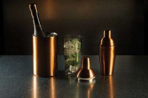 BarCraft Glass Cocktail Shaker with Stainless Steel Lid and Printed Recipes, 650 ml (23 fl oz) - Copper Finish - Shoppersbase