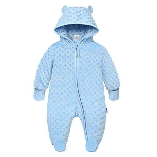 Baby Hooded Fleece Romper Snowsuit Infant Footed Onesies Fall Winter, Blue 6-9 Months - Shoppersbase