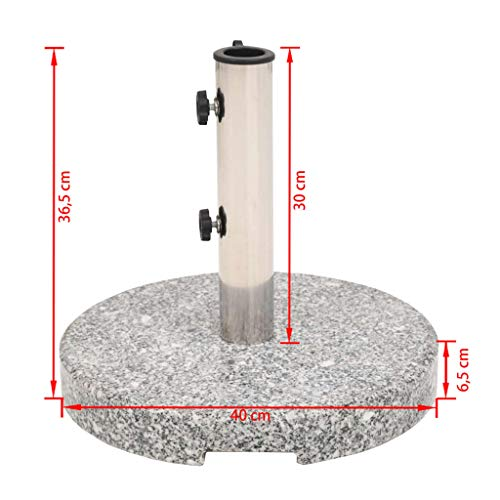 vidaXL Parasol Base Granite Round 22 kg Outdoor Patio Umbrella Stand Holder - Shoppersbase