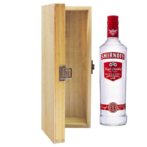 Smirnoff Red Label Russian Vodka in Tung Wood Gift Box With Handcrafted Gifts2Drink Tag - Shoppersbase