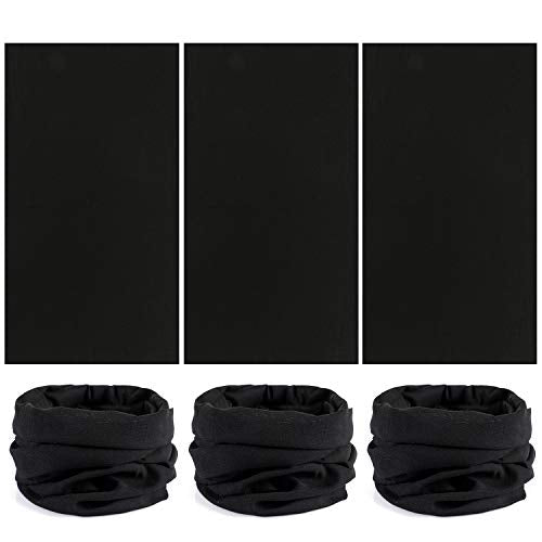 Tacobear 6pcs Multifunctional Headband Bandana Sport Running Snood Elastic Headwear Bandana Neck Gaiters UV Resistence Balaclava Tube for Running Cycling Outdoors Cycling Random Color (Black) - Shoppersbase