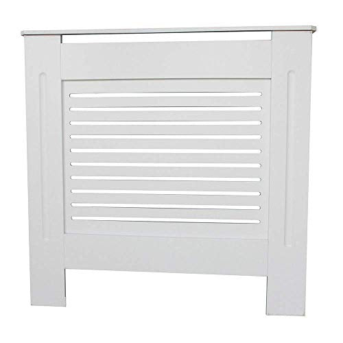 Kensington Radiator Cover Modern MDF Wood White Grey Horizontal Slat Living Room Bedroom Hallway Cabinet (Small) - Shoppersbase
