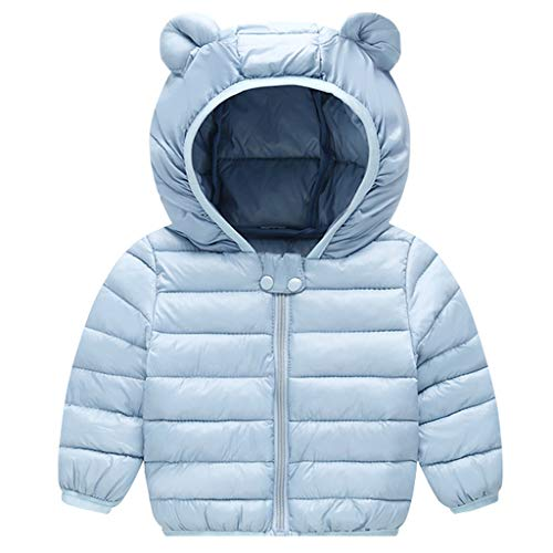 Baby Puffer Jacket Winter Hooded Coat Padded Jacket Lightweight Outerwear Boys Girls Outfits Blue 6-12 Months - Shoppersbase