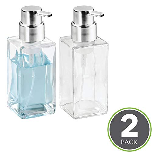 mDesign Foaming Soap Dispenser - Set of 2 - Glass Soap Dispenser Pump - Refillable Soap Dispenser and Soap Pump - Ideal for Liquid Soap - Clear/Silver - Shoppersbase