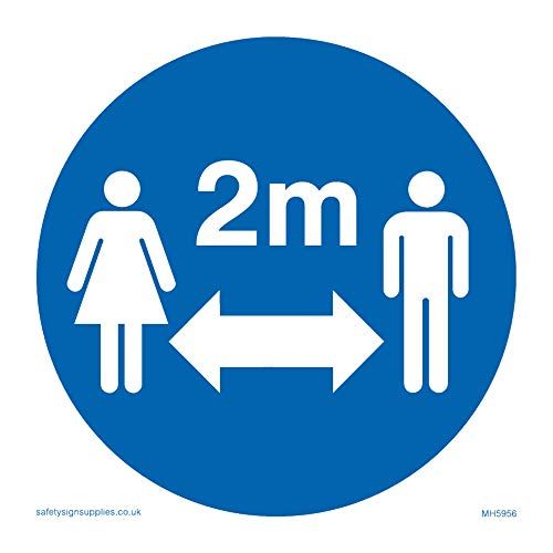 Social distance symbol sign - Plastic Semi-rigid 1mm - Shoppersbase