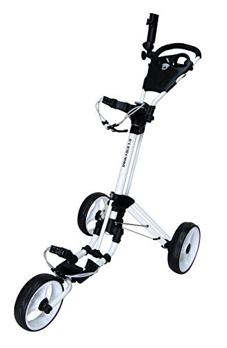 Qwik-Fold 3 WHEEL GOLF TROLLEY PUSH PULL GOLF CART - FOOT BRAKE - ONE SECOND TO OPEN & CLOSE! (White/White) - Shoppersbase