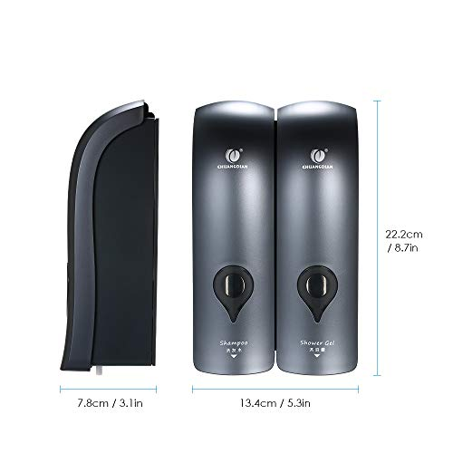 Decdeal Soap Dispenser,300ml*2 NO Drilling Wall Mounted Shower Gel Dispenser Double Shampoo Dispenser Manual Bathroom Soap Dispenser by CHUANGDIAN - Shoppersbase