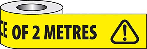 Please keep a safe distance of 2 metres (Roll of PVC self-adhesive floor marking tape 48mm x 33M) - Shoppersbase