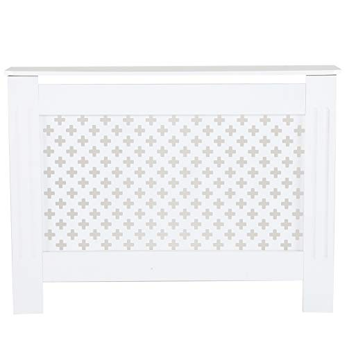 YORKING Radiator Cover Cabinet Wood MDF White Or Grey Traditional Cross Design Furniture Family Fashion Design White - Shoppersbase