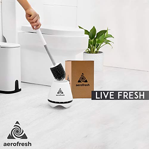 AEROFRESH Toilet brush and holder set - TPR Silicone toilet cleaner brush with hygienic quick drying holder - Stainless steel handle and rubber brush head - for cleaning bathroom toilets - White. - Shoppersbase
