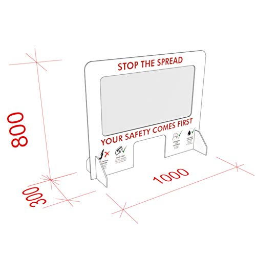 Shop Counter Sneeze Screen | Information Checkout, Worktop Cough Guard Shield, 1000 x 800 mm - Shoppersbase