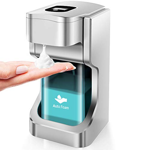 CVasea 17oz / 500ml Automatic Soap Dispenser -Touchless Infrared sensor Battery Operated Electric Automatic Soap Dispenser With Adjustable Soap Dispensing Volume Control Touch button.(Silver) - Shoppersbase