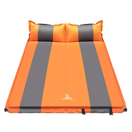 Double Self Inflating Pad Sleeping Mattress Air Bed Camping Hiking Mat Thicken 4 (ORANGE) - Shoppersbase