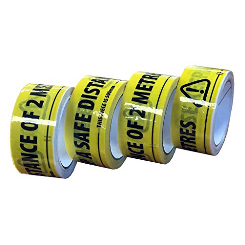 OloreHome Social Distancing Floor Tape - Pack of 4 - PLEASE KEEP A SAFE DISTANCE OF 2 METRES - Shoppersbase