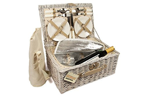 Luxury 4 Person Wicker Chiller Picnic Hamper Basket With Cooler Compartment and Bottle Cooler Bag - Shoppersbase