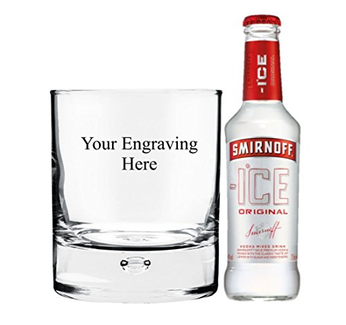 Personalised Engraved 11oz Heavy Bubble in base glass, with 275ml Bottle of Smirnoff Ice in Board Gift box - Shoppersbase