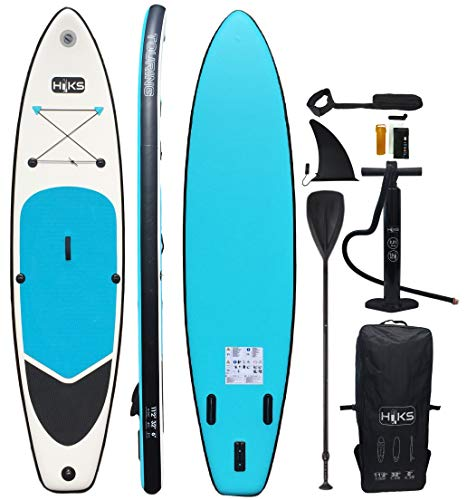 HIKS Double Skin SUP Inflatable TOURING 11'2 3.4m Stand Up Paddle Board Set Inc Paddle, Pump, Backpack & Leash - Shoppersbase