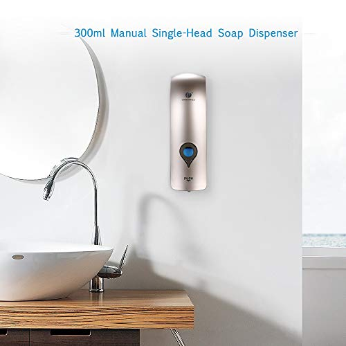 Decdeal Soap Dispenser Wall Mounted, No Drilling 300ml Shower Dispenser Manual Shower Gel Liquid Shampoo Sanitizer Dispenser Holder for Hotel, Office, Home, Healthcare Facilities by CHUANGDIAN - Shoppersbase