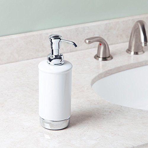 iDesign Liquid Soap Dispenser, Small Metal and Ceramic Soap Pump for the Main and Guest Bathroom, Modern Hand Soap Bottle for Bathroom or Kitchen Sink, White/Chrome - Shoppersbase
