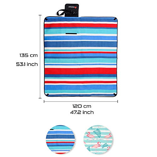 Picnic Blanket Tent Carpet With Carrying Handle Strap And Pocket Waterproof Backing Portable Foldable Outdoor Rug Garden Beach Mat For Hiking Travel Festival Camping Park Soft Extra Large Cover - Shoppersbase