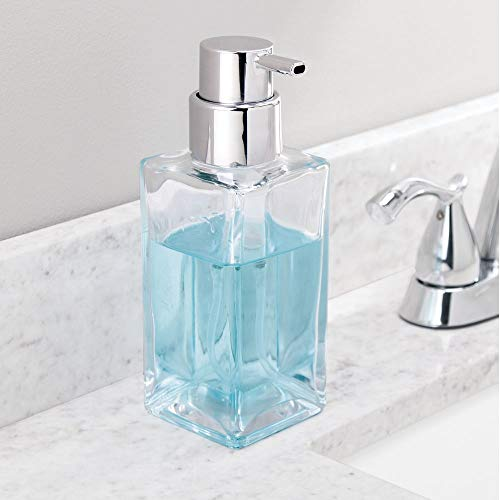 mDesign Set of 2 Refillable Soap Dispenser – Liquid Hand Soap Dispenser – Plastic and Glass Soap Dispenser – High-Quality Kitchen and Bathroom Accessories – Clear/Chrome - Shoppersbase