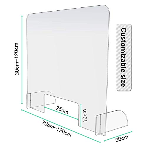 Sneeze Guard Countertop, Clear Acrylic Reception Area Sneeze Screen, Safe standing for Gas Stations 30x90cm - Shoppersbase