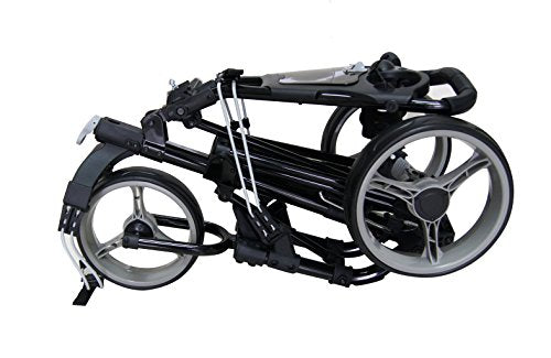 Qwik-Fold 3 WHEEL GOLF TROLLEY PUSH PULL GOLF CART - FOOT BRAKE - ONE SECOND TO OPEN & CLOSE! (Black/Charcoal) - Shoppersbase