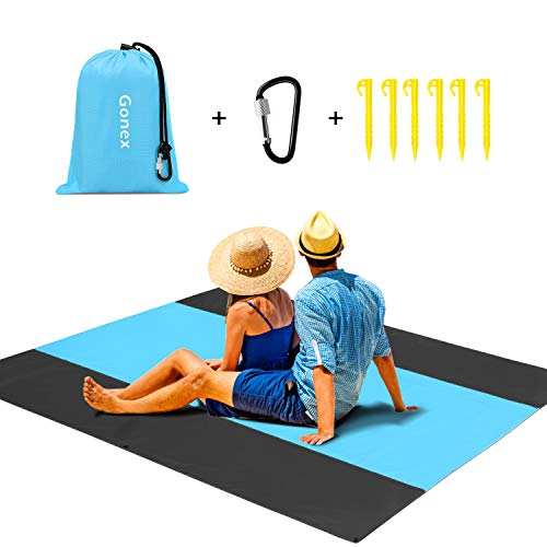 Gonex Beach Blanket 200cmx200cm Portable Lightweight Sandproof Waterproof Picnic Blanket for Outdoor Travel Camping Hiking Activities (Blue) - Shoppersbase