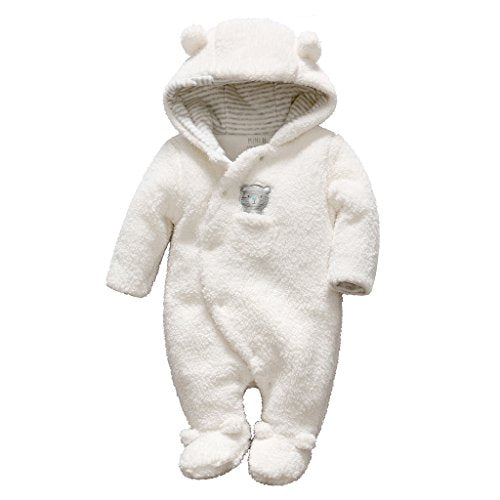 Baby Snowsuits Hooded Rompers Fleece Onesies Bear Pattern Jumpsuit Winter Outfits, White 0-3 Months - Shoppersbase