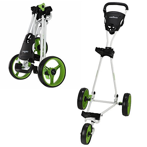 Caddymatic Golf Continental 3 Wheel Folding Golf Push/Pull Trolley White/Green - Shoppersbase