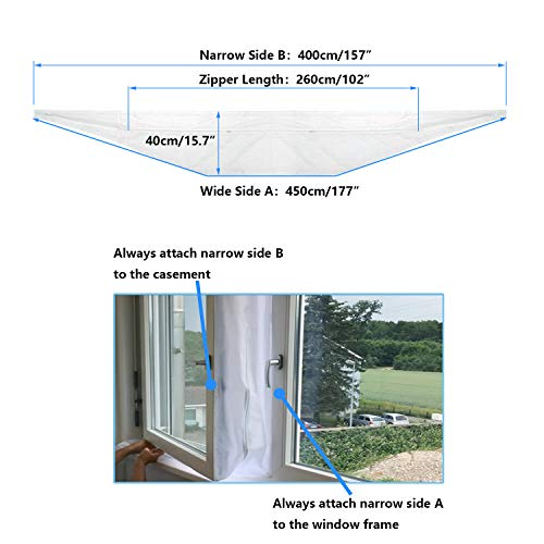 REDTRON 400CM Universal Window Seal for Portable Air Conditioner And Tumble Dryer - Works with Every Mobile Air-Conditioning Unit, Airlock/Hot Air Stop - Easy to Install - No Need Drilling Holes - Shoppersbase