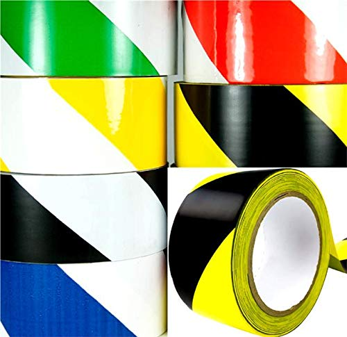 Hazard Warning Tape Self Adhesive Roll Marking Barrier Safety Danger Caution DIY 50mm x 33m (Black and Yellow) - Shoppersbase