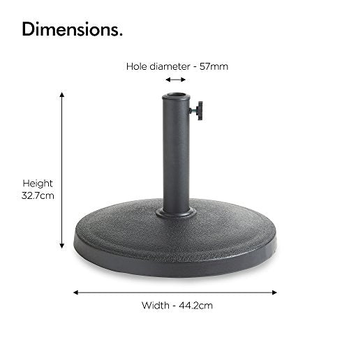 VonHaus 12Kg Round Parasol Base - Heavy Duty Concrete Umbrella Stand for Garden, Patio, Balcony and Outdoors - Shoppersbase
