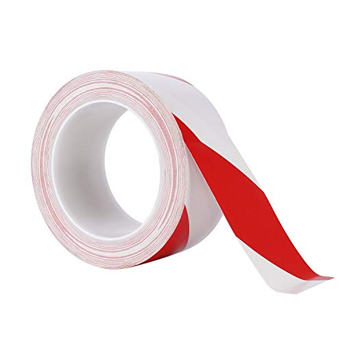 Warning Safety Tape Red White Hazard Tape Adhesive Marking Barrier Tape For walls floors pipes and equipment 33 m x 50 mm - Shoppersbase