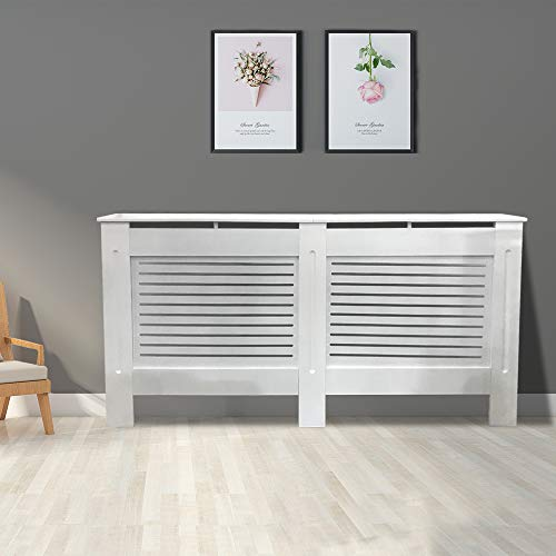 Greenbay Modern Radiator Cover MDF Cabinet with Modern Horizontal Style Slats White Painted Extra Large - 1720 x 815 x 190(mm) - Shoppersbase