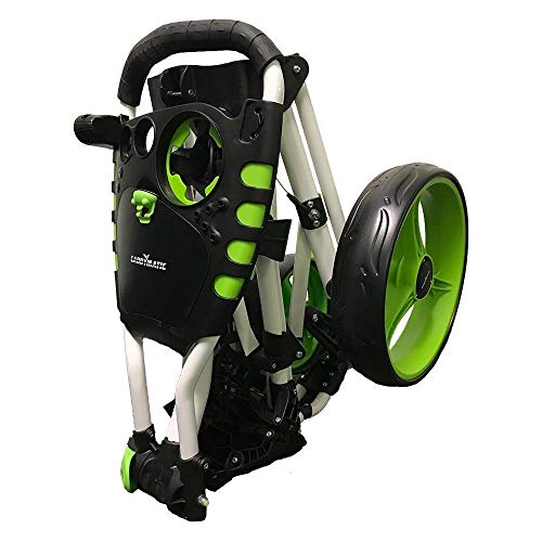 Caddymatic Golf 360° SwivelEase 3 Wheel Folding Golf Trolley (White/Green) - Shoppersbase