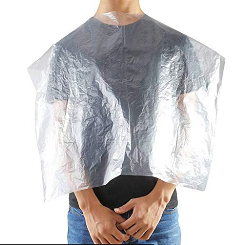 "VAINECHAY 200 Pieces Disposable Hairdresser Cape Waterproof Hairdressing Apron Hair Cutting Capes Hairdressing Apron Transparent Cloth 24"" x 36"" - Shoppersbase"