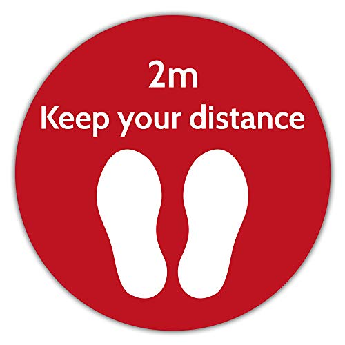 Social Distance Red Floor Marker/Text: 2m, Keep Your Distance - Circle - (400x400mm) Anti-Slip for Grocery, Pharmacy, Bank, Lab, Office, Store - Shoppersbase