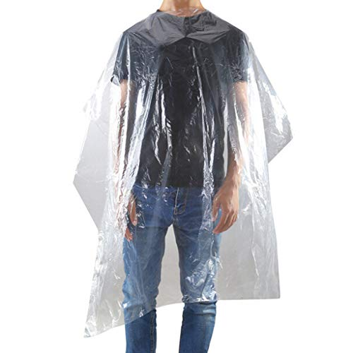Hairdressing Capes, Disposable Hair Cutting Aprons, Transparent Waterproof Barber Haircut Gowns, Hair Salon Capes For Adult Kids (long size (50 pcs)) - Shoppersbase