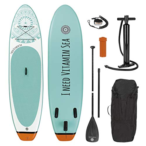 EASYmaxx Stand-Up Paddle Board 300 cm 'I need vitamin sea' in premium quality | Including carrying bag, repair kit and double lift pump, with practical carrying handle | For beginners and advance - Shoppersbase