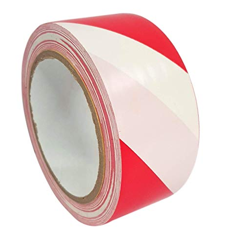 "Crimson Starfish - Red/White Hazard Warning Tape - 33m x 50mm (2"") - PVC Adhesive Marking Barrier Tape, Safety Tapes - High Quality Roll - Lane + Social Distancing Marking - Shoppersbase"