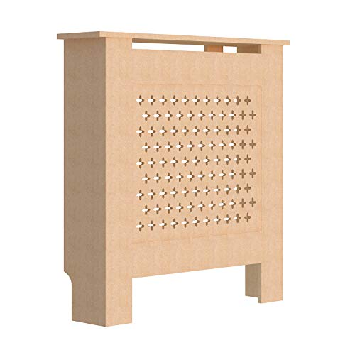 fam famgizmo Cross Pattern Radiator Covers Cabinet Modern Home Furniture MDF UnPainted Heater Cabinet - Small W78xH81.5xD19cm - Shoppersbase