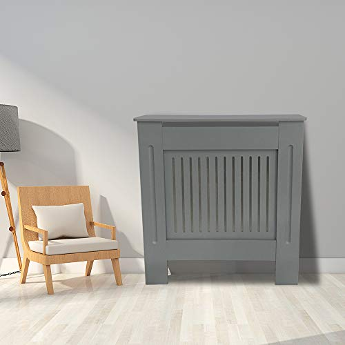 Greenbay Premium Radiator Cover | MDF Cabinet with Modern Vertical Style Slats | Grey Painted | S(780mmx815mm) - Shoppersbase