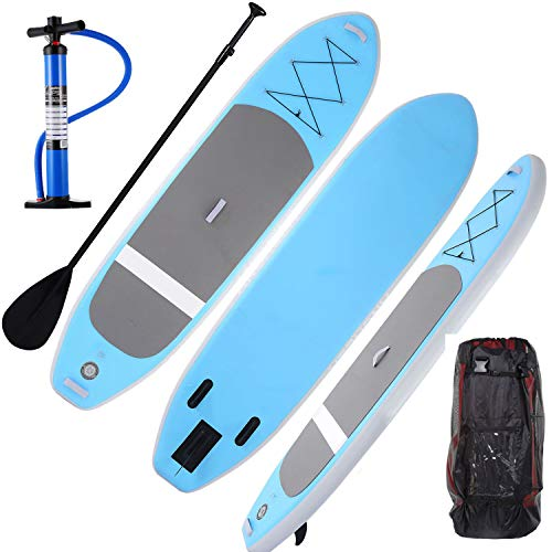 Eloklem iSUP Surfboard Inflatable Stand Up Paddle Board Allround Board 120 x 32 x 6 With Paddle Pump Transport Backpack & Repair Set / 242 lbs Load Capacity (120 x 32 x 6, Light Blue) - Shoppersbase