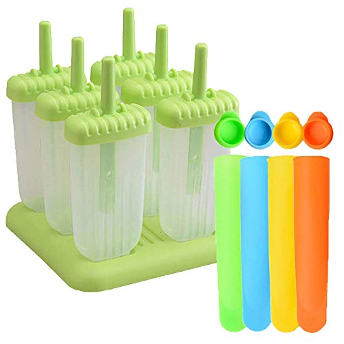 6 Pcs Ice Pop Mould Set and 4Pcs Silicone Popsicle Molds DIY Frozen Ice Cream Pop Molds Ice Lolly Makers Green - Shoppersbase