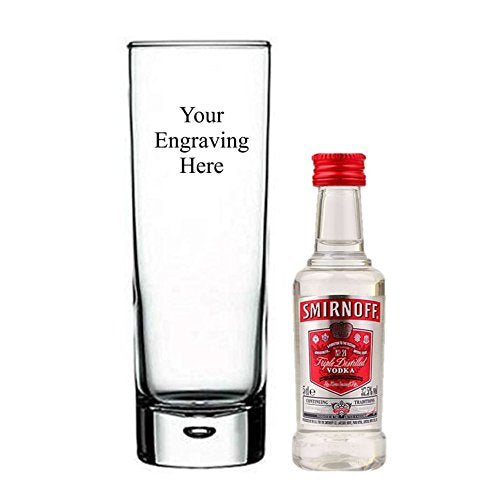 Personalised Engraved Heavy Tall 11 oz Bubble in base glass, with 50 ml Miniature Smirnoff Vodka in Silk Lined Gift box - Shoppersbase