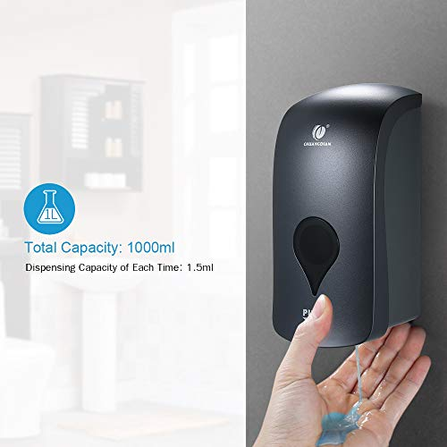 Decdeal Wall Mounted Soap Dispenser CHUANGDIAN 1000ml No Drilling Shower Gel Dispenser Liquid Shampoo Sanitizer Dispenser Holder for Business Public Places(Grey) - Shoppersbase