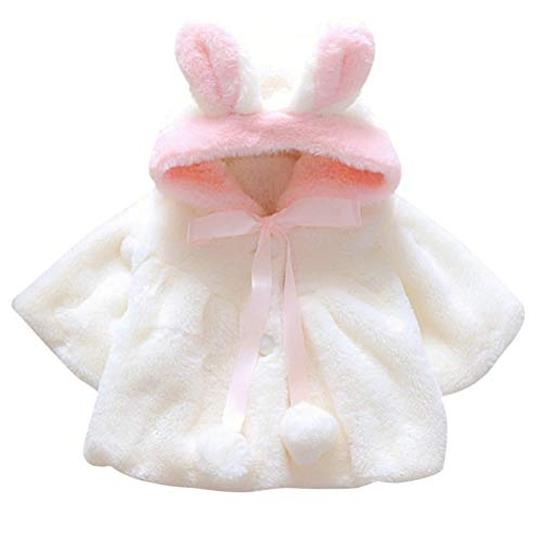 Baby Infant Girls Coat with Cartoon Rabbit Ear Hoodie Jacket Warm Winter Hooded Cape Cloak Hoodie Coat (6-12Months, White) - Shoppersbase