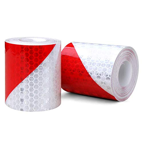 2 Rolls Reflective Warning Tape Red White Stripes Reflector Safety Sticker Night Conspicuity Self-Adhesive Marking Tape Hazard Caution Warning Tape Sticker 5cm x 3m - Shoppersbase
